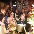 "Satya Oblette, Kenzo Takada et Ruth Obadia pendant la soirée ""Kenzo Takada's Birthday Night"" pour fêter les 80 ans de Kenzo Takada au Pavillon Ledoyen à Paris, France, le 28 février 2019. © Coadic Guirec/Bestimage"