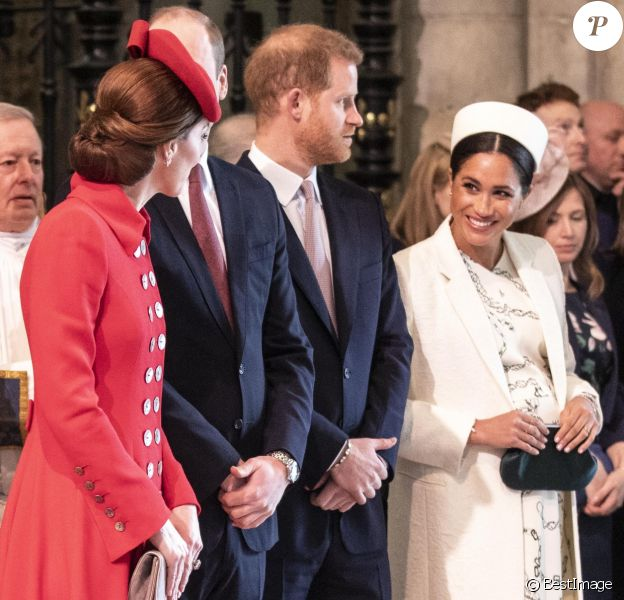 Catherine Kate Middleton, duchesse de Cambridge, le prince William, duc de Cambridge, le prince Harry, duc de Sussex, Meghan Markle, enceinte, duchesse de Sussex lors de la messe en l'honneur de la journée du Commonwealth à l'abbaye de Westminster à Londres le 11 mars 2019.