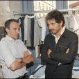 Elie Semoun et Pascal Elbé à l'inauguration de la boutique de vêtements, rue Yvonne Le Tac, dans le 18ème arrondissement