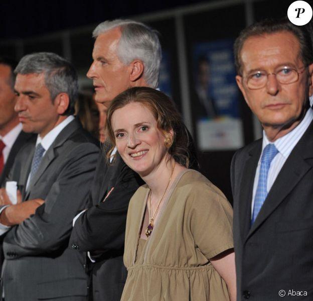 Michel Barnier, Nathalie Kosciusko-Morizet, Bruno Le Maire et Dominique Baudis lors d'un meeting de l'UMP le 4 juin 2009, Porte de Versailles