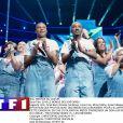 """La troupe des Enfoirés sur scène pour le spectacle """"Le Monde des Enfoirés"""" enregistré en janvier à l'Arkéa Arena de Bordeaux et diffusé le 8 mars 2019 sur TF1."""