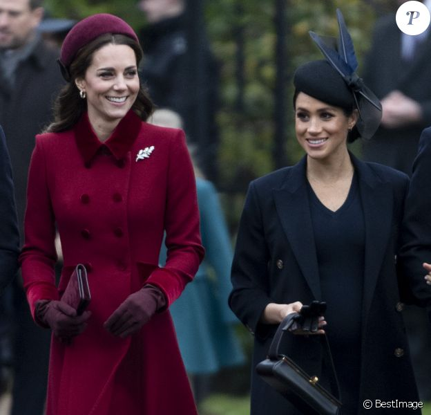 Catherine Kate Middleton, la duchesse de Cambridge et Meghan Markle, la duchesse de Sussex enceinte - La famille royale britannique se rend à la messe de Noël à l'église Sainte-Marie-Madeleine à Sandringham, le 25 décembre 2018.