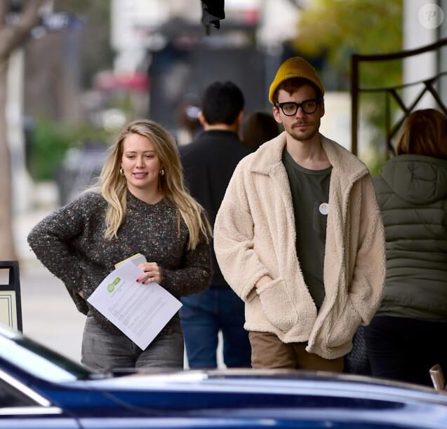 """Exclusif - Hilary Duff et son compagnon Matthew Koma vont déjeuner au """"Pain Quotidien"""" à Los Angeles, le 20 février 2019."""