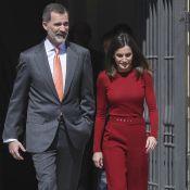 Letizia d'Espagne : Toute rouge à nouveau au côté de Felipe, avant leur voyage