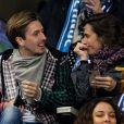 Alessandra Sublet et un ami, Maëva Coucke (Miss France 2018), Flora Coquerel (Miss France 2014) - People assistent au match des éliminatoires de l'Euro 2020 entre la France et l'Islande au Stade de France à Saint-Denis le 25 mars 2019.