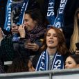 Alessandra Sublet et un ami, Bertrand Chameroy, Maëva Coucke (Miss France 2018) - People assistent au match des éliminatoires de l'Euro 2020 entre la France et l'Islande au Stade de France à Saint-Denis le 25 mars 2019. La france a remporté le match sur le score de 4-0.