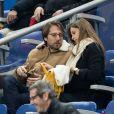 Ophélie Meunier, enceinte et son mari Mathieu Vergne - People assistent au match des éliminatoires de l'Euro 2020 entre la France et l'Islande au Stade de France à Saint-Denis le 25 mars 2019. La france a remporté le match sur le score de 4-0.