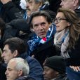 Semi-exclusif - Anne-Claire Coudray et son compagnon Nicolas Vix - People assistent au match des éliminatoires de l'Euro 2020 entre la France et l'Islande au Stade de France à Saint-Denis le 25 mars 2019. La france a remporté le match sur le score de 4-0.