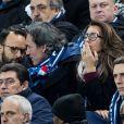 Anne-Claire Coudray et son compagnon Nicolas Vix - People assistent au match des éliminatoires de l'Euro 2020 entre la France et l'Islande au Stade de France à Saint-Denis le 25 mars 2019. La france a remporté le match sur le score de 4-0.