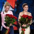 """Les soeurs Marie-Ange et Laetitia Casta - Enregistrement de l'émission """"Che Temp Che Fa"""" à Milan en Italie le 7 avril 2019"""
