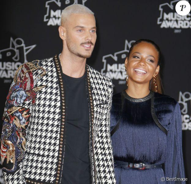 Le chanteur français M. Pokora (Matt Pokora) et sa compagne la chanteuse américaine Christina Milian - 19ème édition des NRJ Music Awards à Cannes le 4 novembre 2017. © Christophe Aubert via Bestimage