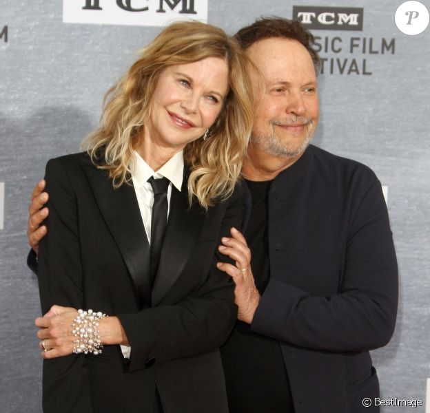 "Meg Ryan, Billy Crystal au photocall de la projection spéciale pour les 30 ans du film ""Quand Harry rencontre Sally"" lors du 10ème festival TCM Classic Film à Los Angeles, le 11 avril 2019."