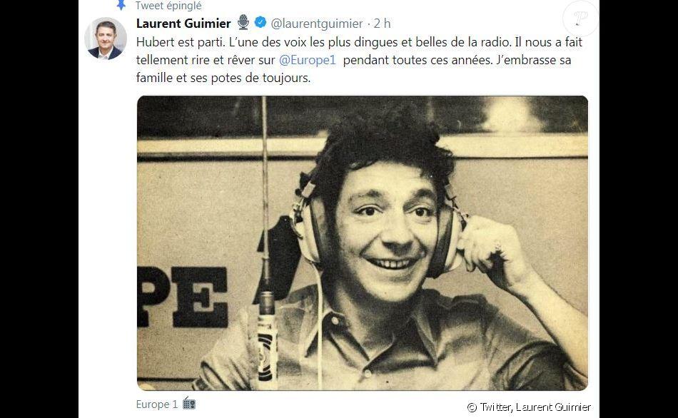 Laurent Guimier, vice PDG d'Europe 1, a annoncé la mort d' Hubert Wayaffe sur Twitter le 13 avril 2019.