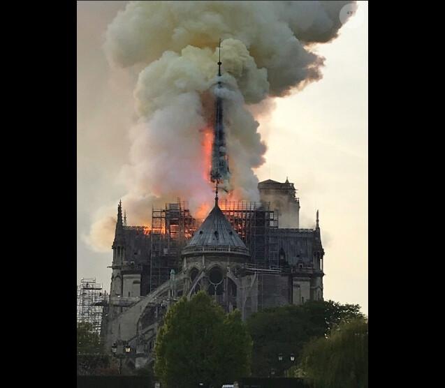 Incendie de la cathédrale Notre-Dame de Paris, Paris, le 15 avril 2019 ©Renan Keraudran / Bestimage