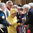 La reine Elizabeth II, accompagnée par la princesse Eugenie d'York, honorait la tradition du Royal Maundy en la chapelle St George au château de Windsor le 18 avril 2019. La souveraine y a remis des bourses (photo) contenant des pièces de monnaie à 93 bénéficiaires, soit autant que son âge (93 ans au 21 avril 2019).