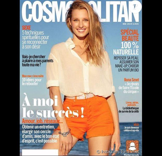 Ilona Smet en couverture de l'édition française du magazine Cosmopolitan. Numéro de mai 2019.