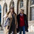 Rod Stewart et sa femme Penny Lancaster sont allés faire des achats dans la bijouterie Dary's et se rendent à l'hôtel Ritz à Paris, France, le 26 mars 2019.