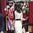 La reine Letizia d'Espagne lors de la parade du 175e anniversaire de la garde civile espagnole au palais royal à Madrid le 13 mai 2019