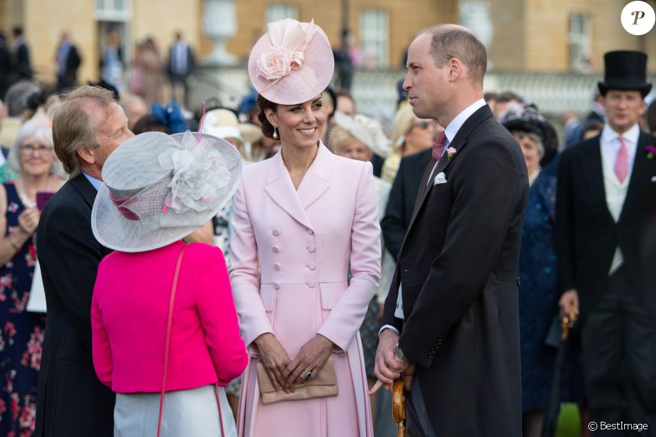 Le prince William, duc de Cambridge, et Catherine (Kate) Middleton, duchesse de Cambridge, lors de la garden-party royale de Buckingham Palace. Londres, le 21 mai 2019.