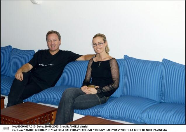 André Boudou et Laeticia Hallyday à l'Amnésia, le 26 septembre 2003.