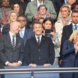 Le président de la République Emmanuel Macron et la première dame Brigitte Macron assistent à l'ouverture de la coupe du monde féminine de football 2019 (Mondial), opposant la France à la Corée du Sud au Parc des Princes. Paris le 7 juin 2019 © Pierre Perusseau / Bestimage