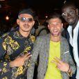 Exclusif - Greg, Paga (Anthony Paggini Neuron) et Mamadou Sakho lors de l'ouverture d'un TacoShake sur les Champs-Elysées à Paris, France, le 10 juin 2019. © Veeren/Bestimage