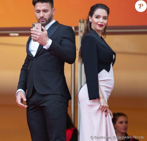 """Nabilla Benattia, enceinte, au bras de son mari Thomas Vergara lors de la montée des marches du film """"A Hidden Life"""" lors du 72ème Festival International du Film de Cannes, le 19 mai 2019. © Jacovides-Moreau / Bestimage"""