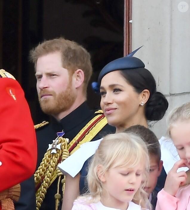Le prince Harry, duc de Sussex, et Meghan Markle, duchesse de Sussex - La famille royale au balcon du palais de Buckingham lors de la parade Trooping the Colour 2019, célébrant le 93ème anniversaire de la reine Elisabeth II, Londres, le 8 juin 2019.
