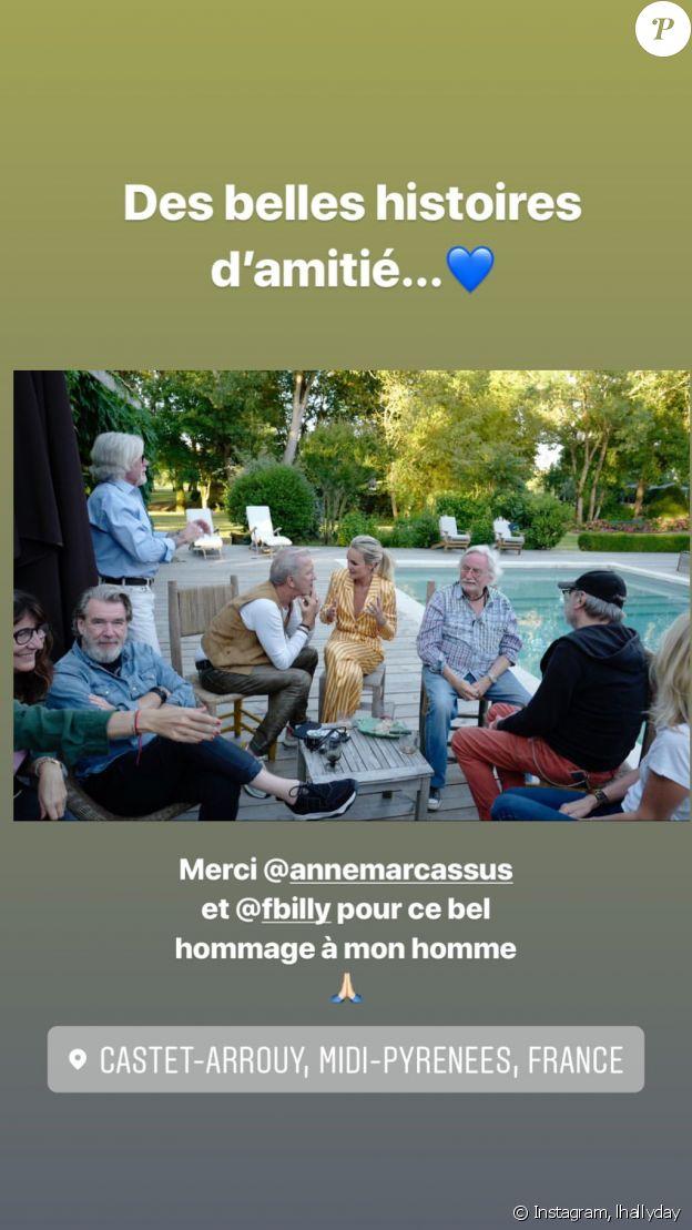 Laeticia, Jade et Joy Hallyday en vacances à Castet-Arrouy (région Midi-Pyrénées), juin 2019.
