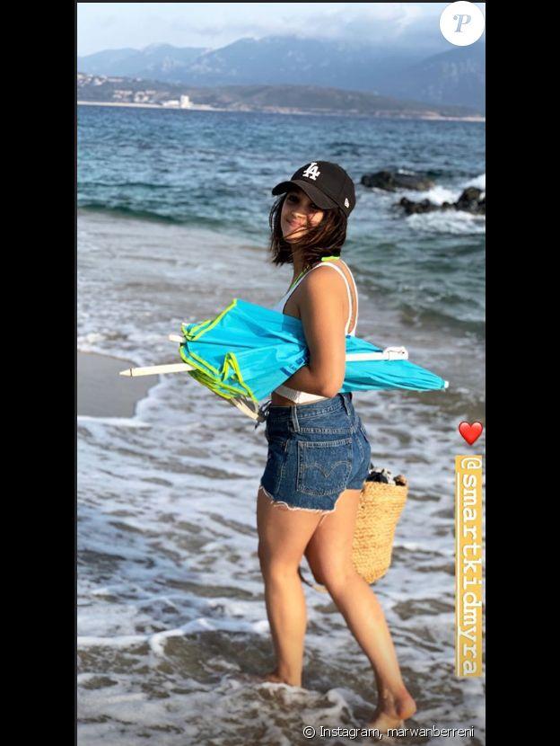 Myra  Tyliann, la petite amie de Marwan Berreni, à la plage, photo Instagram du 24 lau 2019