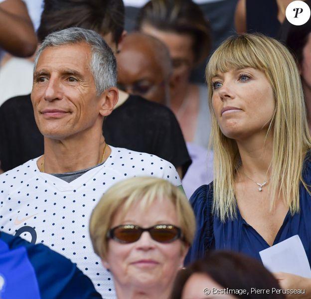 Nagui et Mélanie Page dans les tribunes lors du quart de finale de la Coupe du Monde Féminine de football opposant les Etats-Unis à la France au Parc des Princes à Paris, France, le 28 juin 2019. Les USA ont gagné 2-1. © Pierre Perusseau/Bestimage