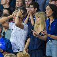 Nagui et sa femme Mélanie Page et Leïla Kaddour-Boudadi dans les tribunes lors du quart de finale de la Coupe du Monde Féminine de football opposant les Etats-Unis à la France au Parc des Princes à Paris, France, le 28 juin 2019. Les USA ont gagné 2-1. © Pierre Perusseau/Bestimage