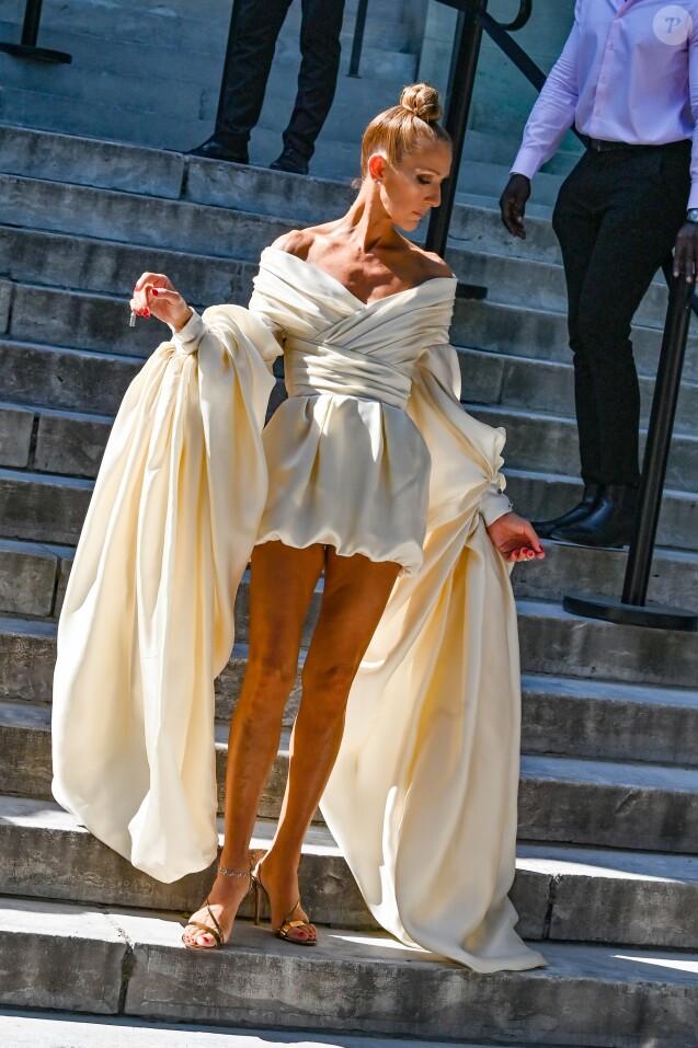 Céline Dion arrive au Grand Palais pour le défilé Alexandre Vauthier, Haute Couture Automne/Hiver 2019/2020 à Paris le 2 juillet 2019.
