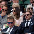 Pippa Middleton (Matthews) et son frère James Middleton assistent au championnat de Wimbledon à Londres, le 8 juillet 2019.