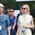 Le mannequin britannique Poppy Delevingne assiste au tournoi de Wimbledon, le 8 juillet 2019.