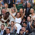 Geri Halliwell (Horner) et son mari Christian Horner dans les tribunes du tournoi de Wimbledon à Londres, Royaume Uni, le 5 juillet 2019.