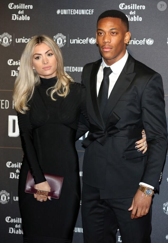 """Anthony Martial et Mélanie Da Cruz lors du dîner de gala """"United For Unicef"""" à Manchester, le 15 novembre 2017."""