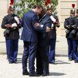 Le président de la République, Emmanuel Macron reçoit Nana Akufo-Addo, président de la République du Ghana pour un entretien au palais de l'Elysée, à Paris, le 11 juillet 2019. © Stéphane Lemouton / Bestimage