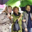 Danièle Thompson avec ses enfants Caroline et Christopher et son compagnon Albert Koski à Paris en 2011 pour l'inauguration de la place Gérard Oury.