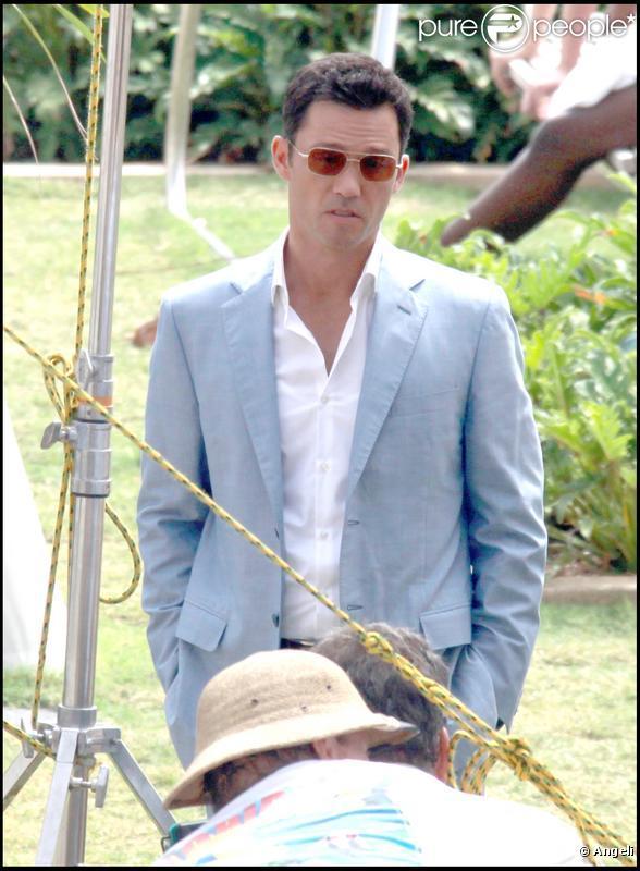 Jeffrey Donovan sur le tournage de Burn Notice à Miami le 29 juin 2009