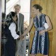 Victoria de Suède arrive au séminaire A new Green World, à l'ambassade de Suède, à Londres. 01/07/09