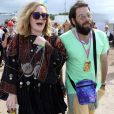 La chanteuse Adele et son compagnon Simon Konecki - Festival Glastonbury 2015, le 28 juin 2015.28/06/2015 - Glastonbury