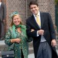 La princesse Christina et Bernardo Guillermo arrive au mariage du prince Jaime de Bourbon-Parme, le 5 octobre 2013.