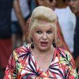 Exclusif - Ivana Trump se promène avec son chien dans les rues de Saint-Tropez le 27 juin 2019. Elle vient d'annoncer son divorce avec Rossano Rubicondi.