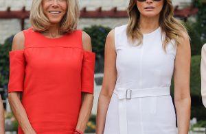 Brigitte Macron : Épaules dénudées et robe rouge, Melania Trump tout en blanc