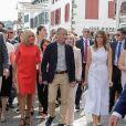 Brigitte Macron, Jean-Marie Iputcha, maire de Espelette, Melania Trump - Brigitte Macron et les conjoints visitent la ville de Espelette en marge du sommet du G7 à Biarritz le 25 août 2019. © Thibaud Moritz / Pool / Bestimage
