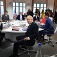 Donald Tusk, président du conseil européen, Giuseppe Conte, premier ministre d'Italie, Shinzo Abe, premier ministre du Japon, Donald Trump, président des Etats-Unis, le président Emmanuel Macron, Angela Merkel, chancelière d'Allemagne, Justin Trudeau, premier ministre du Canada, Boris Johnson, premier ministre du Royaume Uni - Première séance de travail du G7 consacrée à l'agenda stratégique et de sécurité et à l'économie internationale durant le sommet du G7 à Biarritz, France, le 25 août 2019.