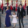 La princesse Marie de Danemark, le prince Nikolai et la princesse Athena lors du dîner donné par la reine Margrethe II de Danemark le 7 juin 2019 pour les 50 ans du prince Joachim, à Copenhague.