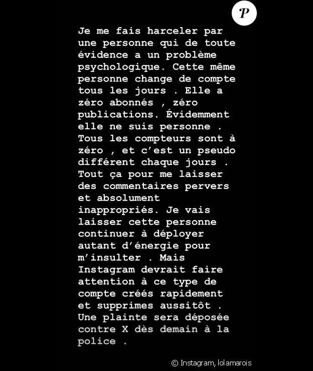 Lola Marois annonce porter plainte contre X pour harcélement en ligne- Lundi 2 septembre 2019.