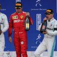 Lewis Hamilton, Charles Leclerc et Valtteri Bottas au Grand Prix de Belgique le 1er septembre 2019.